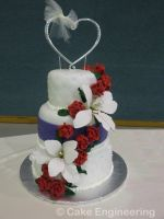 quilted lily and red rose cake by cake-engineering
