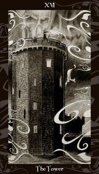 HP Tarot - 16 The Tower by Ellygator