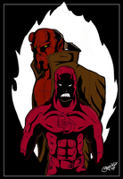 Daredevil Hellboy Colors Step1 by BouncieD