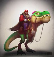 Mario and his trusty Yoshi by DevindraLeonis