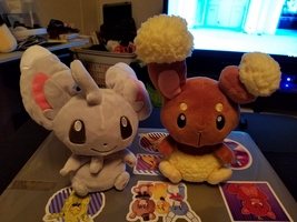 Pokemon Minccino and Buneary Plush by DuskStripe87