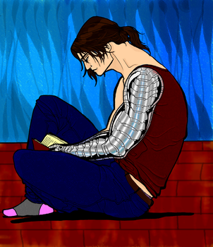 Colouring: Bucky sitting and reading by t-me1
