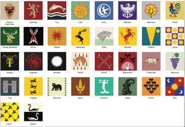 Game of Thrones House Sigils (.eps vector file) by Fuzzysocks102