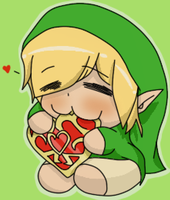 Chibi Link Eating Hearts (colored) by LinksLover4ever