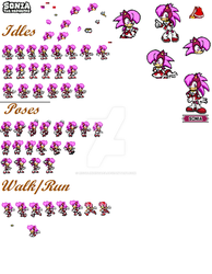 Sonia The Hedgehog Sprite sheet making by RozalinDisgaea