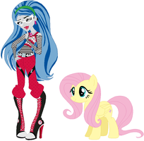 Ghoulia Yelps and Fluttershy by user15432