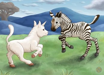 Zebra And Unicorn by Kairu-Hakubi