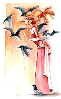 Masqued witch _ magpies by Pendalune