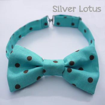 Aqua bow tie with brown polkadots by Idzit