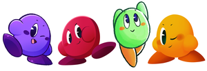 Different Colored Kirbies by MixedUpMagpie