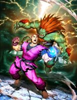 Street FIgther Unlimited 6 cover - Blanka VS Dan by GENZOMAN