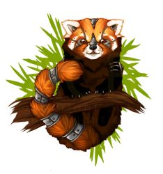 Mecha Red Panda - button by cursed-sight