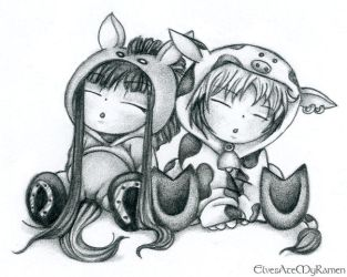 Fruits Basket, Haru and Rin by ElvesAteMyRamen