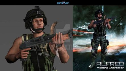 Low poly soldier game model with assets by gameyan