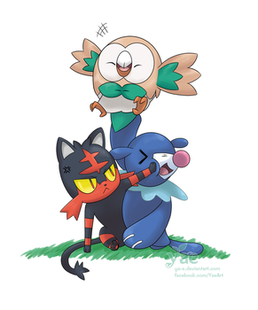 Pokemon Sun / Moon Starters by Ya-e