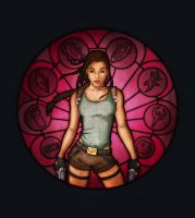 Tomb Raider Stained Glass by RevengeOfKipje