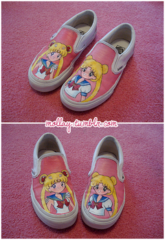 Sailor Moon custom vans by mollay