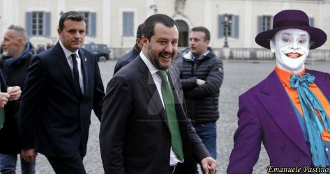 Matteo Salvini meets The Joker in Rome, Italy