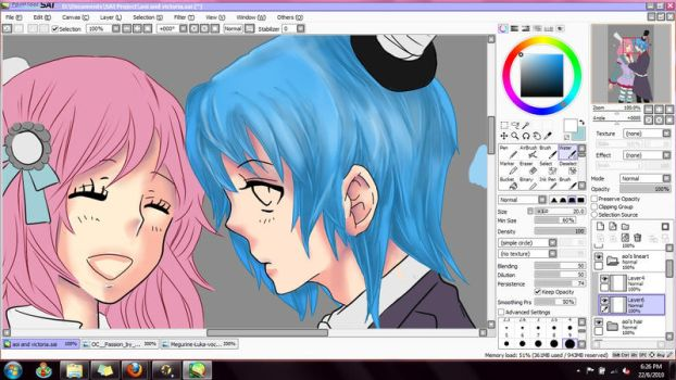 WIP - Victoria and Aoi by mintzyd