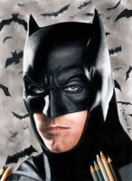 Colored Pencil Drawing of Batman Ben Affleck by JasminaSusak