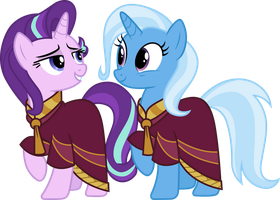 Starlight Glimmer and Trixie in robes by CloudyGlow