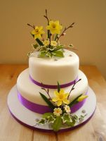 Spring flowers wedding cake by Dragonsanddaffodils
