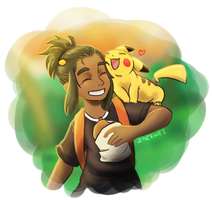 Hau and pikachu by cerberus-monk