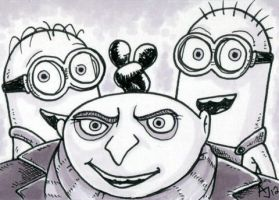 Gru and Minions Sketch Card by AtlantaJones