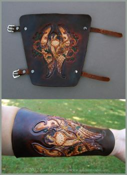 Oak Falcon - Leather Archery Arm Guard by windfalcon