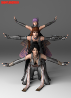 Ayane, Kasumi, and Momiji battle pose by ShinyLightBulb