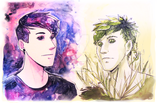 Space boy and plant boy by incaseyouart