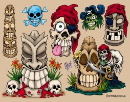 Tiki and Pirate Tattoo Flash by MonsterInk