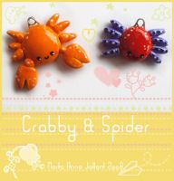 Crabby and Spider charms by yuki-the-vampire