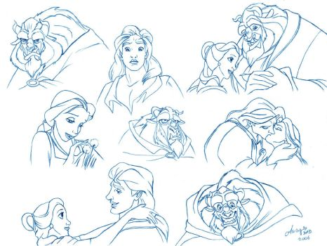 Beauty and the Beast doodles by mary-dab
