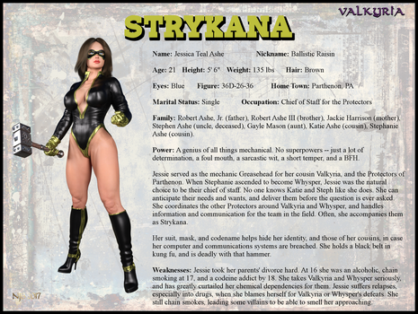 Jessica Ashe - Strykana Character Card by Nathanomir