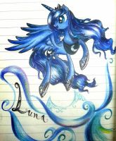 Luna in watercolour pencil by MarcyLin1023