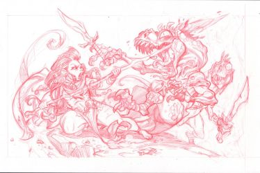 Dino Huntress2  pencils by 3nrique