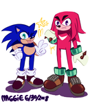 Sonic and Knuckles by Mushroom-Cookie-Bear