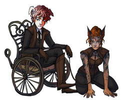 Couples Sketch W/color__Evelynne and Bas Rouge by BlackBirdInk