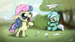 Lyra and Bon Bon flying paper airplanes by Dori-to