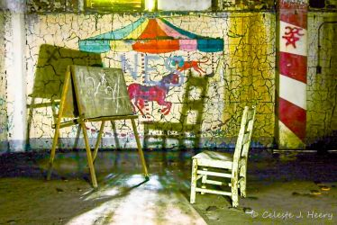 Abandoned Mental Asylum, Chair And Chalkboard by cjheery
