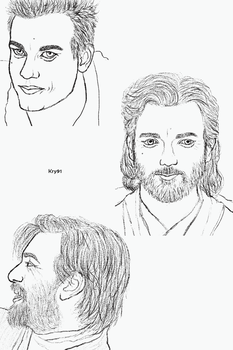 Obi-Wan Kenobi Smiling Sketches by Krystal91
