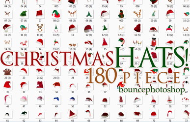 Christmas Hats 180 piece-Bouncephotoshop by asenagundogdu