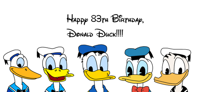 Happy Late 83rd Birthday, Donald Duck by MarcosPower1996