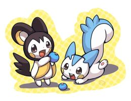 Emolga and Pachirisu by PatrykGr