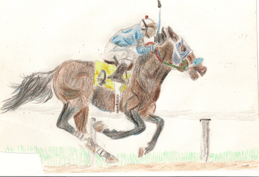 Racehorse crayon by Squirrelfl1ght4evr