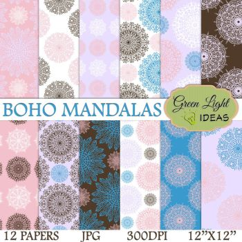 Boho Mandalas Digital Papers by GreenLightIdeasGLI