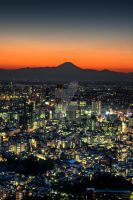 Fuji over Tokyo night by Keith-Killer
