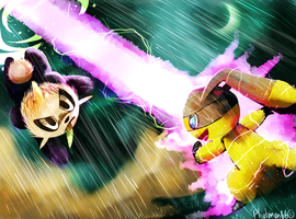Helioptile and Pancham Pokemon battle!