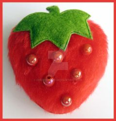 Red Fluffy Strawberry Pin by cherryboop